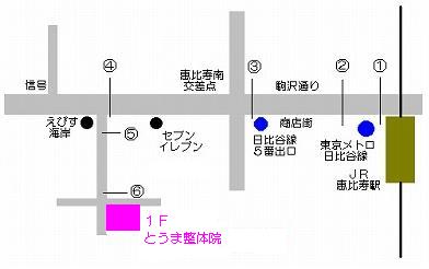 恵比寿の整体院のアクセスマップ